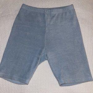 UO Blue Ribbed Velour Biker Shorts